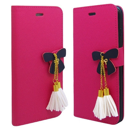 **PDA**For Apple iPhone 6/6S plus 5.5 inch 2 Tone Deluxe Dual-Use Flip PU Leather Case, Hot Pink/Black w/Tassels