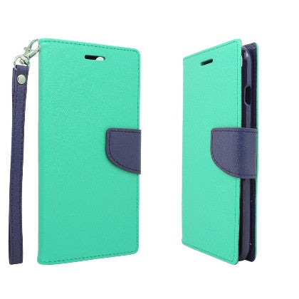 **PDA**For Apple iPhone 6/6S plus 5.5 inch 2 Tone Deluxe Dual-Use Flip PU Leather Case, Light Green/Dark Blue