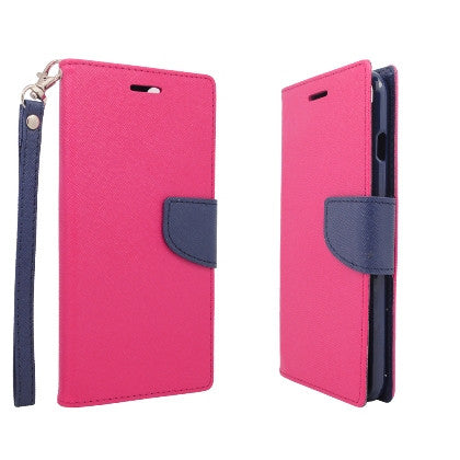 **PDA**For Apple iPhone 6/6S plus 5.5 inch 2 Tone Deluxe Dual-Use Flip PU Leather Case, Hot Pink/Dark Blue