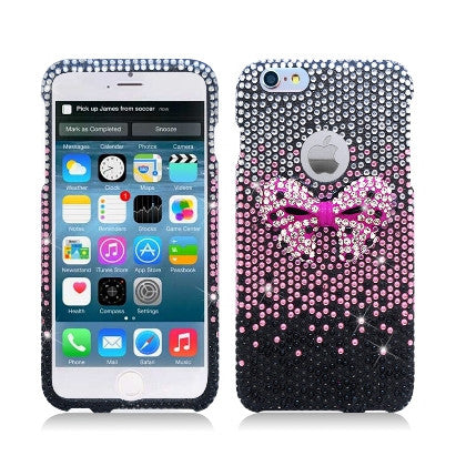 **PDA**For Apple iPhone 6/6S plus 5.5 inch 3D Full Diamond Protector, Bow Tie, Pink