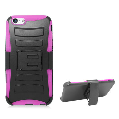**PDA**For Apple iPhone 6/6S plus 5.5 inch Black Armor w/stand, Hot Pink skin& Black Belt Clip