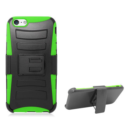 **PDA**For Apple iPhone 6/6S plus 5.5 inch Black Armor w/stand, Green skin& Black Belt Clip