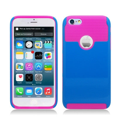 **PDA**For Apple iPhone 6/6S plus 5.5 inch 2 Tone Hybrid, Blue PC+Hot Pink TPU