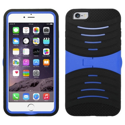**PDA**For Apple iPhone 6/6S plus 5.5 inch Armor 3 in 1 w/Stand Black Skin+Blue PC