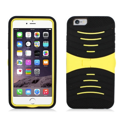 **PDA**For Apple iPhone 6/6S plus 5.5 inch Armor 3 in 1 w/Stand Black Skin+Yellow PC