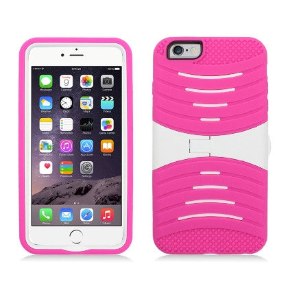 **PDA**For Apple iPhone 6/6S plus 5.5 inch Armor 3 in 1 w/Stand Hot Pink Skin+White PC