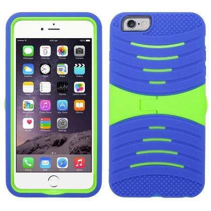 **PDA**For Apple iPhone 6/6S plus 5.5 inch Armor 3 in 1 w/Stand Blue Skin+Green PC