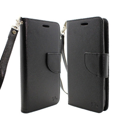 **PDA**For Apple iPhone 7 5.5 Plus 2 Tone Deluxe Dual-Use Flip PU Leather Case, Black/Black w/Logo