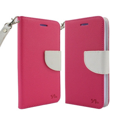 **PDA**For Apple iPhone 7 5.5 Plus 2 Tone Deluxe Dual-Use Flip PU Leather Case, Hot Pink/White w/Logo