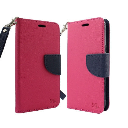 **PDA**For Apple iPhone 7 5.5 Plus 2 Tone Deluxe Dual-Use Flip PU Leather Case, Hot Pink/Dark Blue w/Logo