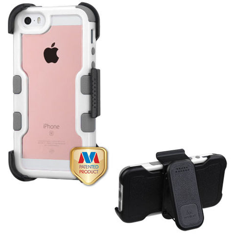 Natural Ivory White Frame+Transparent PC Back/Iron Gray TUFF Vivid Hybrid Protector Cover (with Black Horizontal Holster)