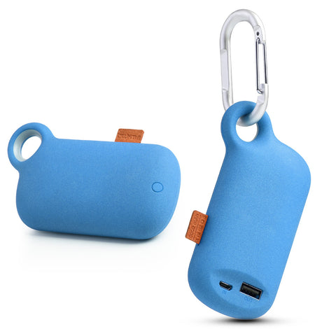 LUXMO THE CAMPER UNIVERSAL 5000MAH USB PORTABLE POWER BANK  WITH CARABINER CLIP - BLUE