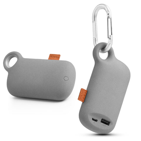 LUXMO THE CAMPER UNIVERSAL 5000MAH USB PORTABLE POWER BANK  WITH CARABINER CLIP - GREY