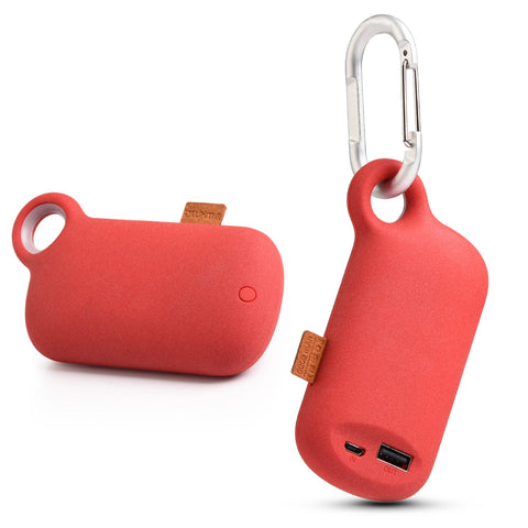 LUXMO THE CAMPER UNIVERSAL 5000MAH USB PORTABLE POWER BANK  WITH CARABINER CLIP - RED