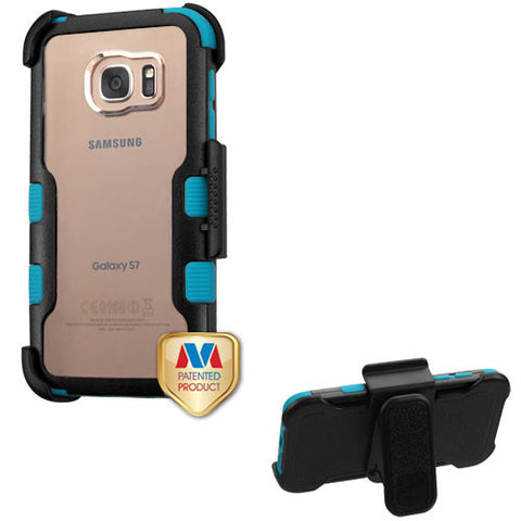 Natural Black Frame+Transparent PC Back/Tropical Teal TUFF Vivid Hybrid Protector Cover (with Black Horizontal Holster)