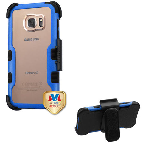 Natural Dark Blue Frame+Transparent PC Back/Black TUFF Vivid Hybrid Protector Cover (with Black Horizontal Holster)