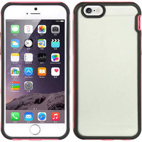 "APPLE IPHONE 6/6S (4.7"") HYBIRD CASE BLACK TPU EMBED CLEAR PC WITH BUMPER FRAME - HOT PINK"