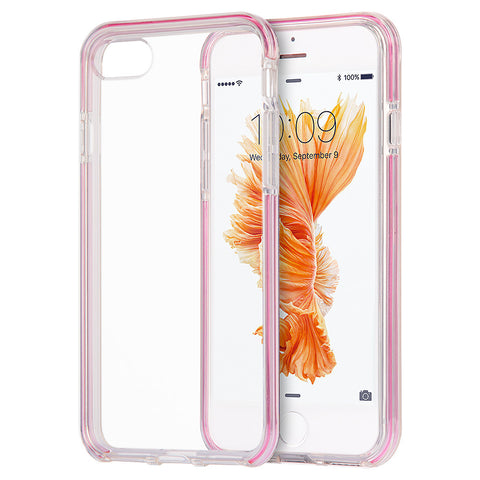 APPLE IPHONE 7 INVISIBLE BUMPER HYBIRD CASE ULTRA THIN AGUA  CLEAR + PINK INNER FRAME