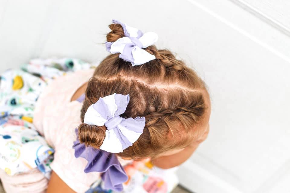 Purple and White Striped-Mini Ruffle Bow