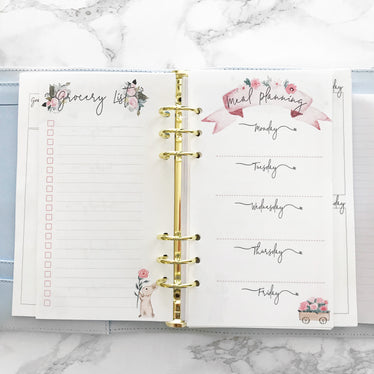 A5 Summer Garden Meal Planning Inserts (Narrow), A5 INSERTS - Jessica Hearts