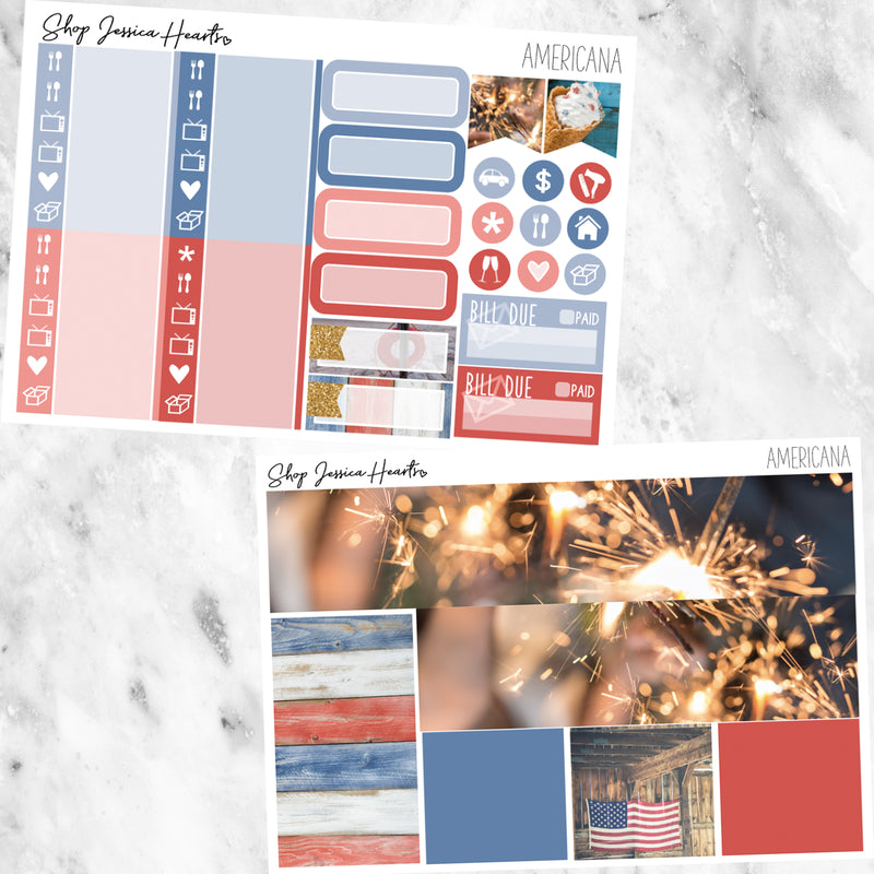 Americana Weekly Sticker Kit, stickers - Jessica Hearts
