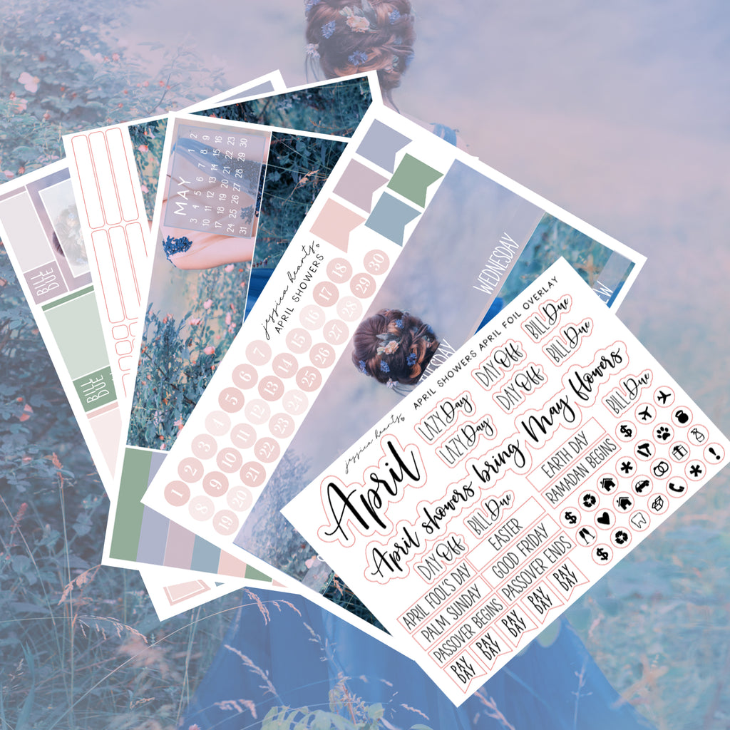 April Showers BLANK April 2020 Monthly Kit + Foil Overlay