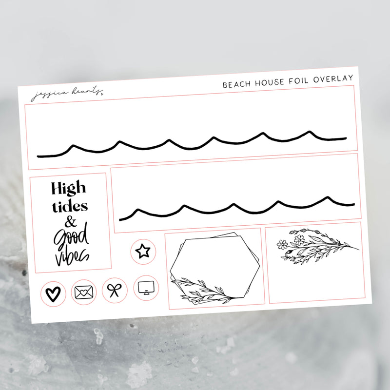 Beach House Foil Overlay Sticker Sheet (Transparent)