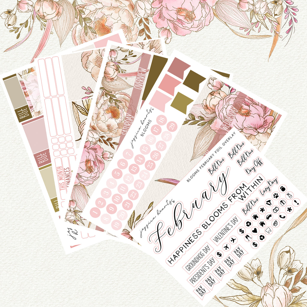 Blooms BLANK February 2020 Monthly Kit + Foil Overlay