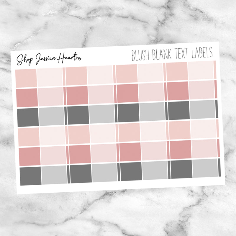 Blush Blank Text Labels (Perfect Pair with Foil),  - Jessica Hearts