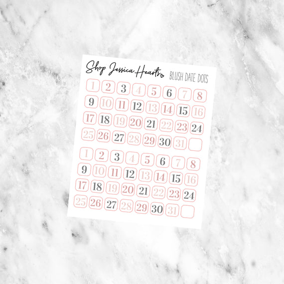 Blush Date Dot Stickers