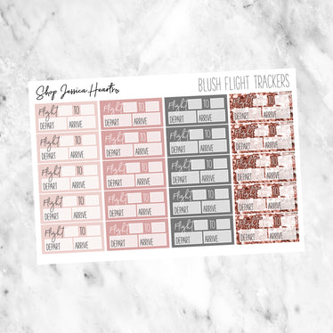 Blush Flight Tracker Stickers, planner stickers - Jessica Hearts