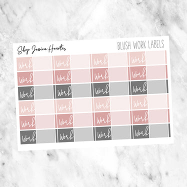Blush Work Label Stickers, planner stickers - Jessica Hearts