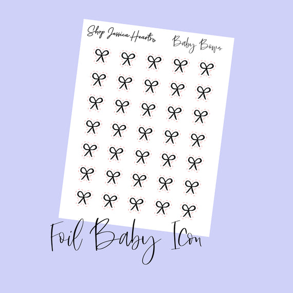 Foil Bow Baby Icon Stickers (Transparent)