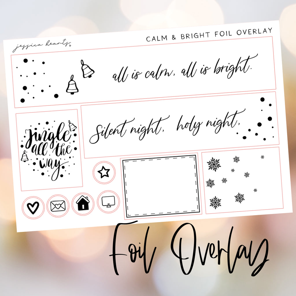 Calm & Bright Foil Overlay Sticker Sheet (Transparent)