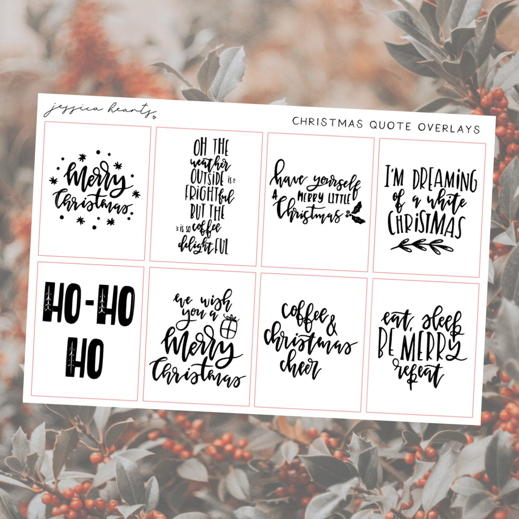 Foil Christmas Quote Full Box Overlays