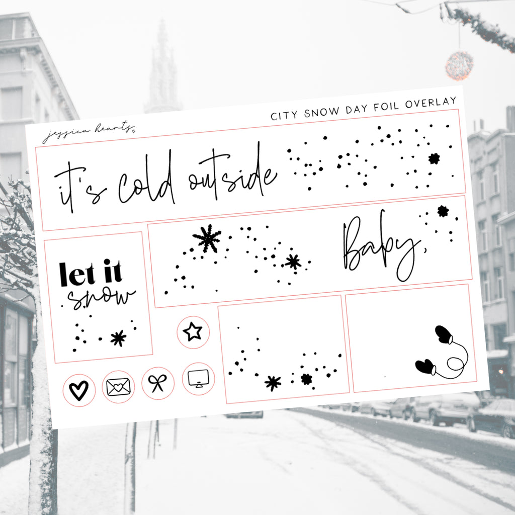 City Snow Day Foil Overlay Sticker Sheet (Transparent)