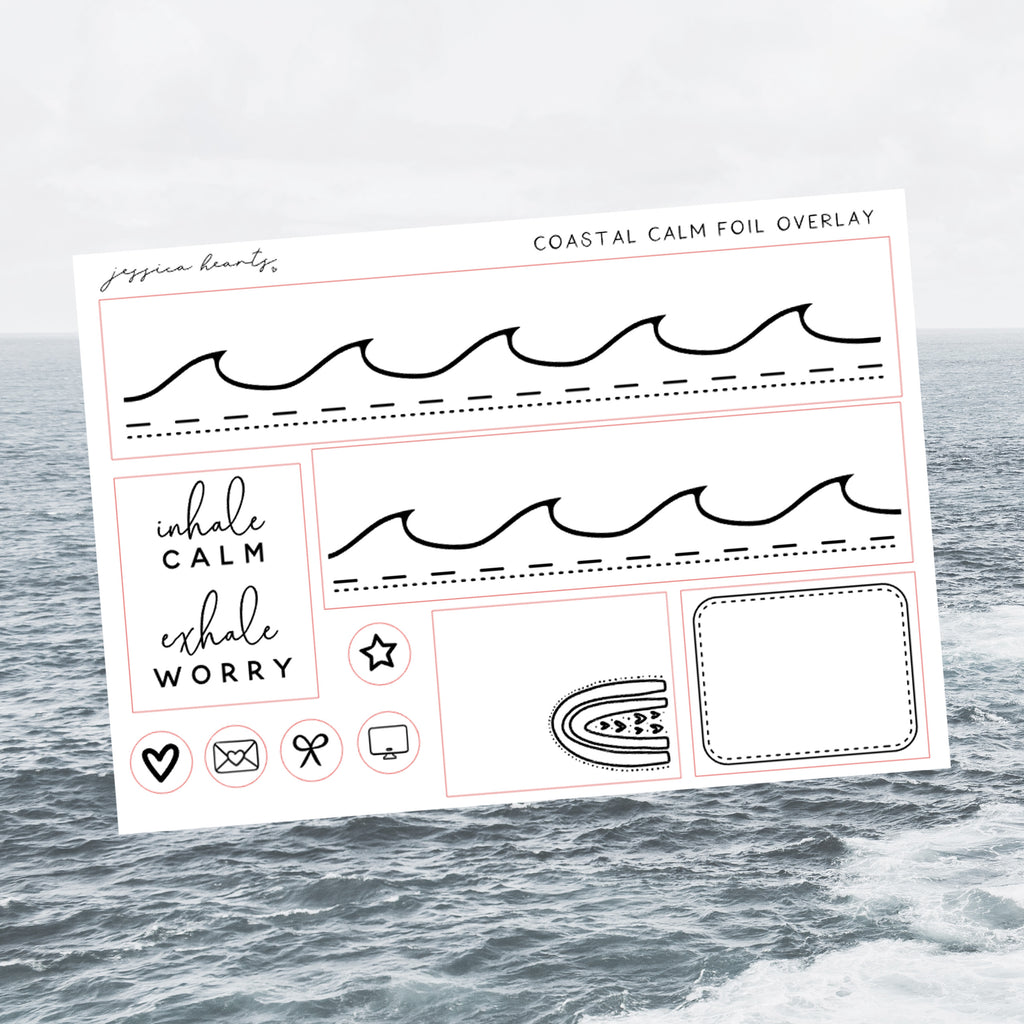 Coastal Calm Foil Overlay Sticker Sheet (Transparent)