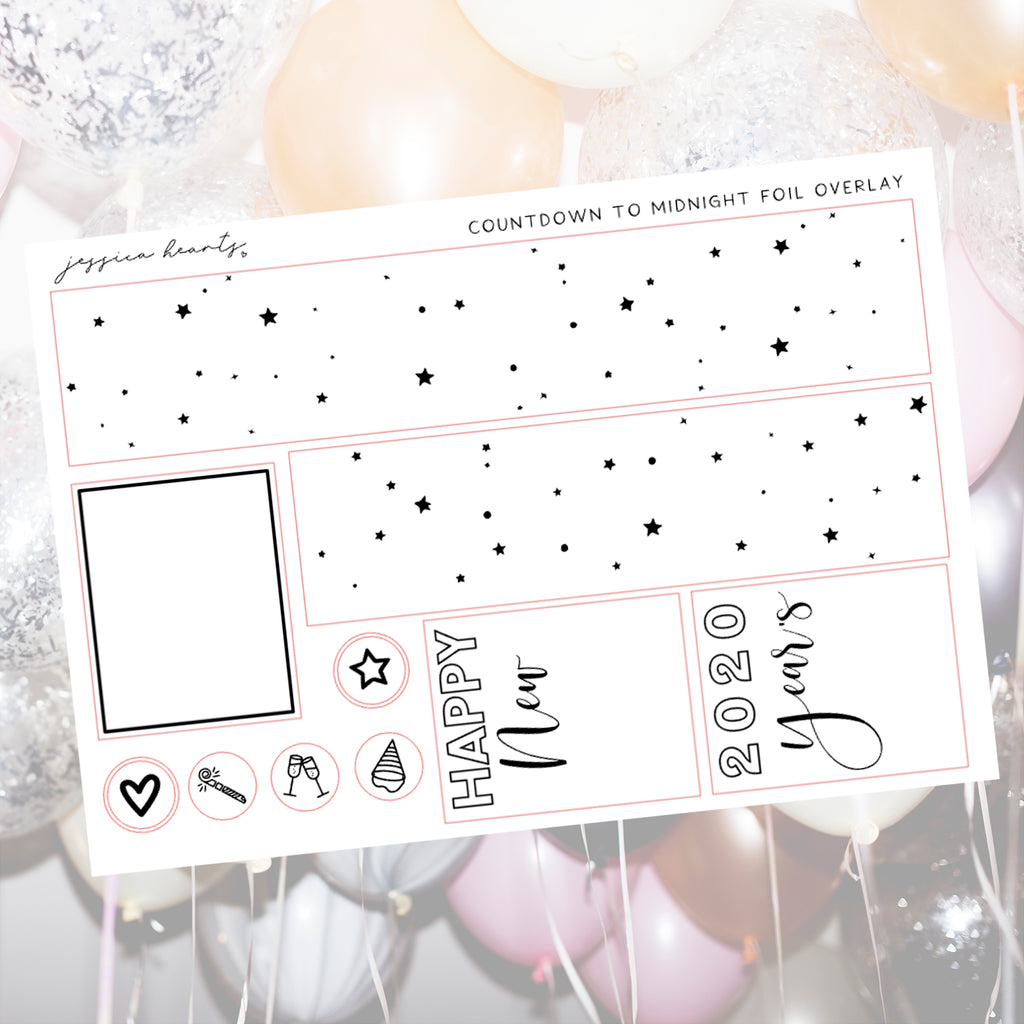 Countdown to Midnight Foil Overlay Sticker Sheet (Transparent)