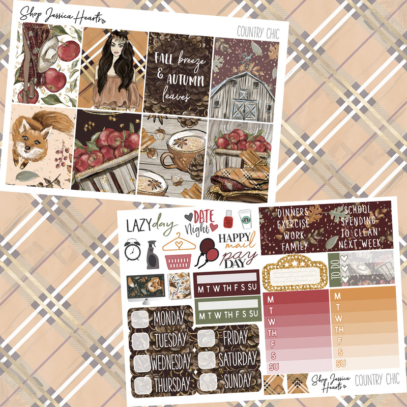 Country Chic Weekly Sticker Kit, planner stickers - Jessica Hearts