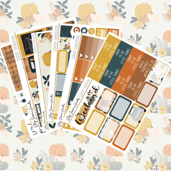 Country Thanksgiving Weekly Sticker Kit,  - Jessica Hearts