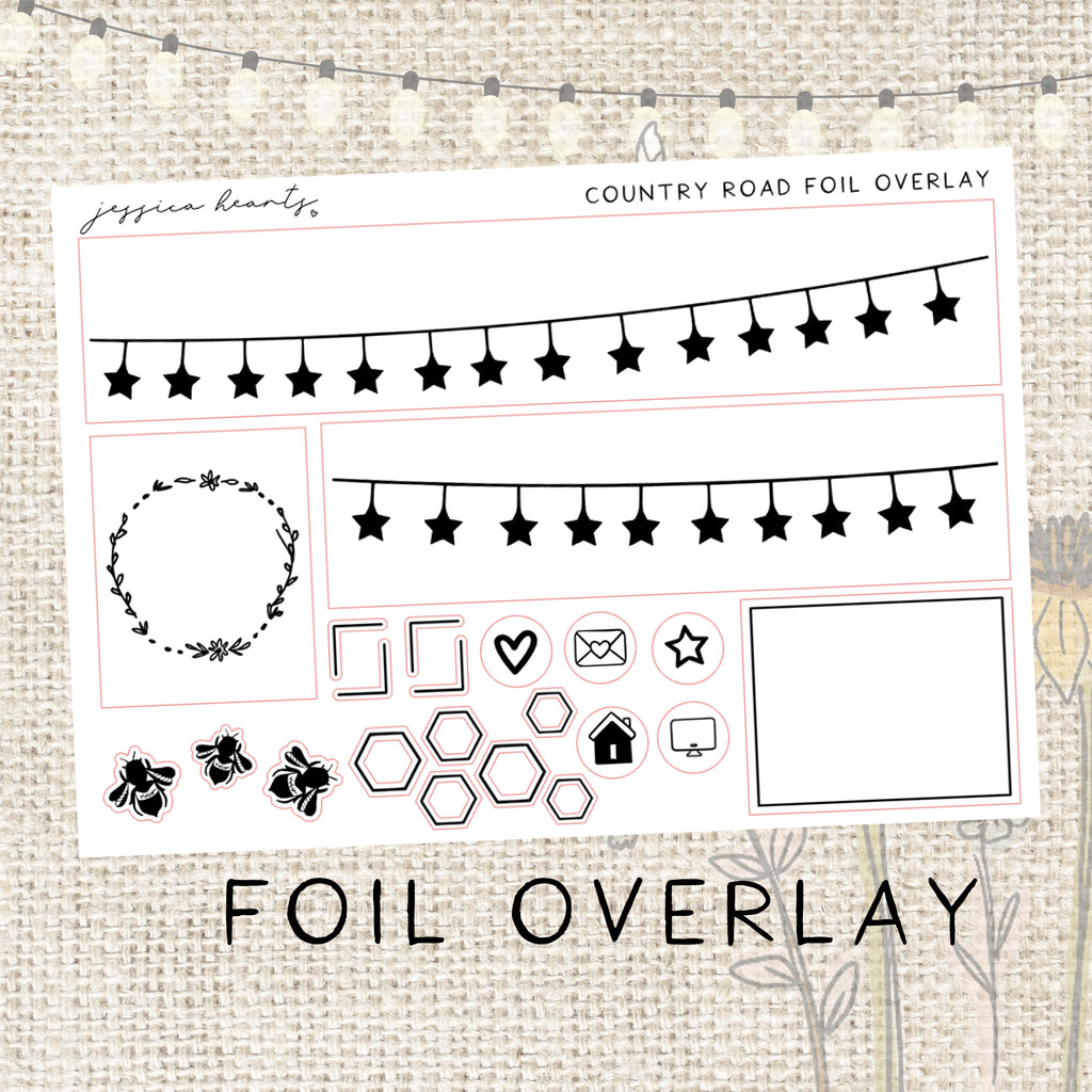 Country Road Foil Overlay Sticker Sheet (Transparent)