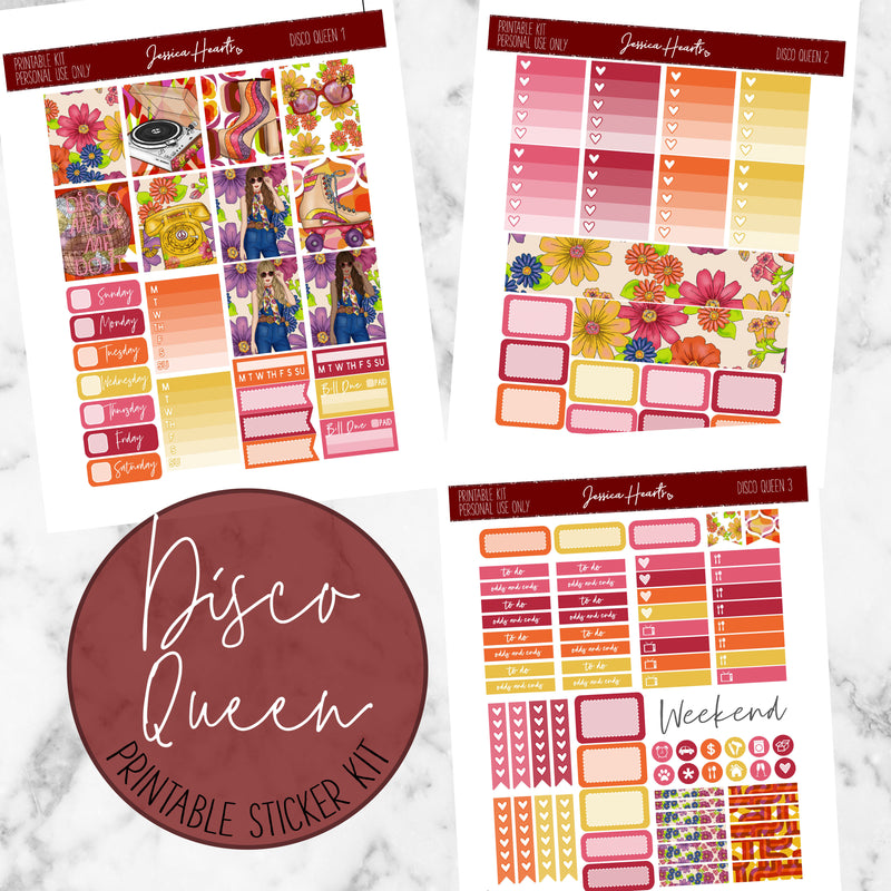 Disco Queen Printable Sticker Kit (Download),  - Jessica Hearts