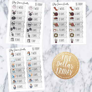 Five Dollar Friday #18, planner stickers - Jessica Hearts