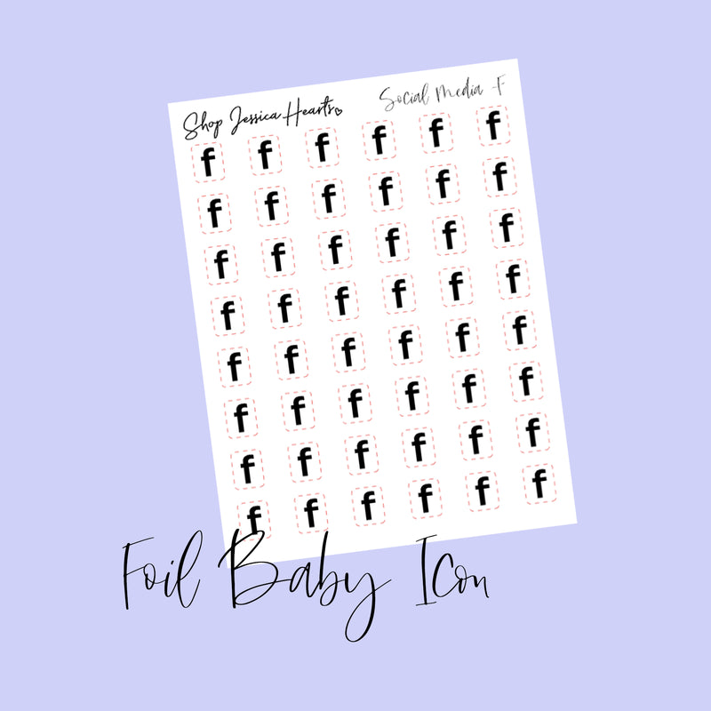"Foil Social Media ""F"" Baby Icon Stickers (Transparent)"