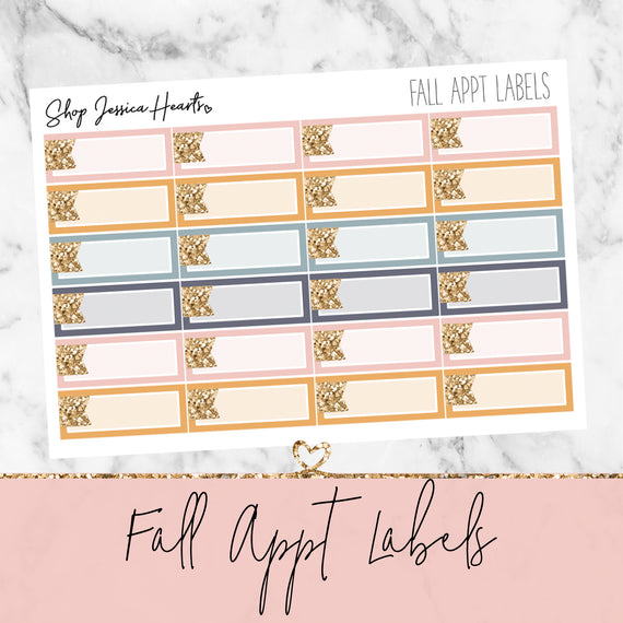 Fall Appointment Labels, planner stickers - Jessica Hearts