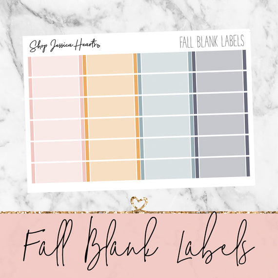 Fall Blank Label Stickers, planner stickers - Jessica Hearts