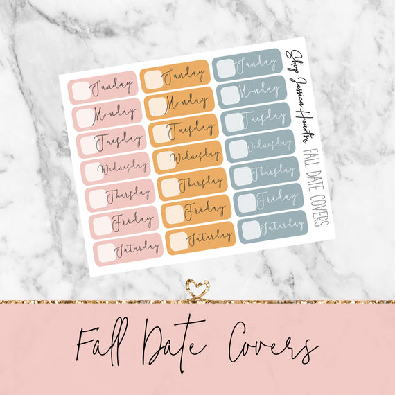 Fall Date Cover Stickers, planner stickers - Jessica Hearts