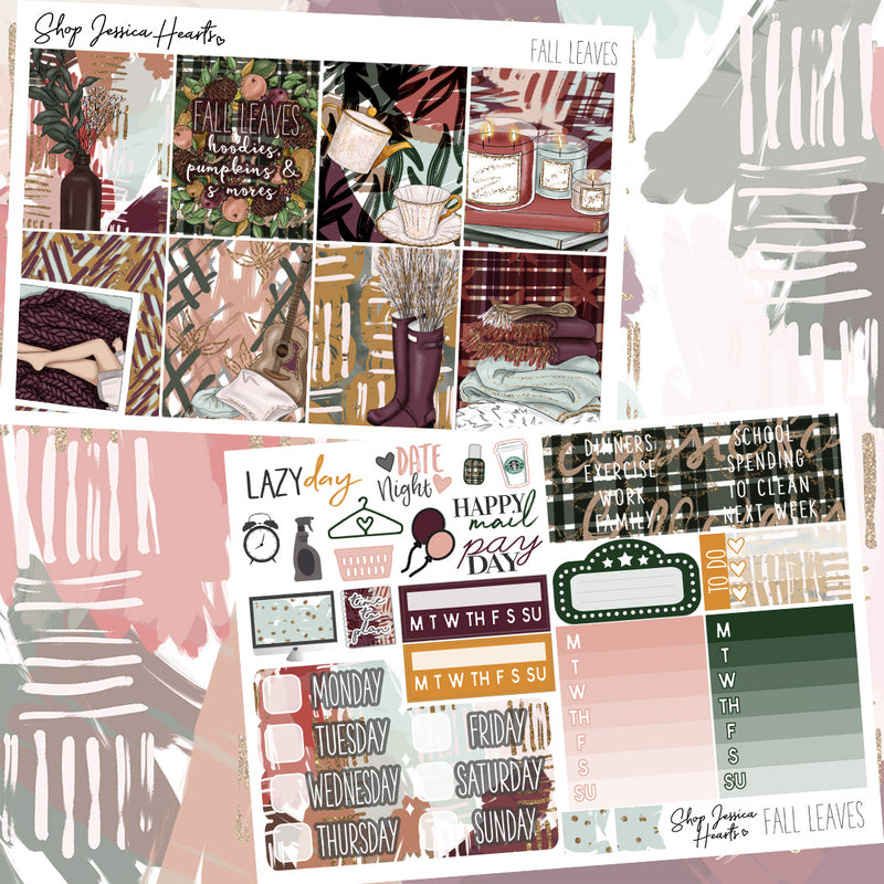 Fall Leaves Weekly Sticker Kit,  - Jessica Hearts