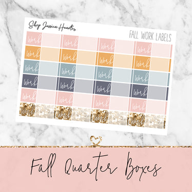 Fall Work Label Stickers, planner stickers - Jessica Hearts