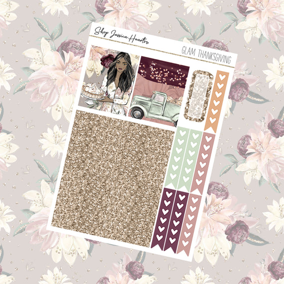 Glam Thanksgiving Ultimate Sheet, planner stickers - Jessica Hearts